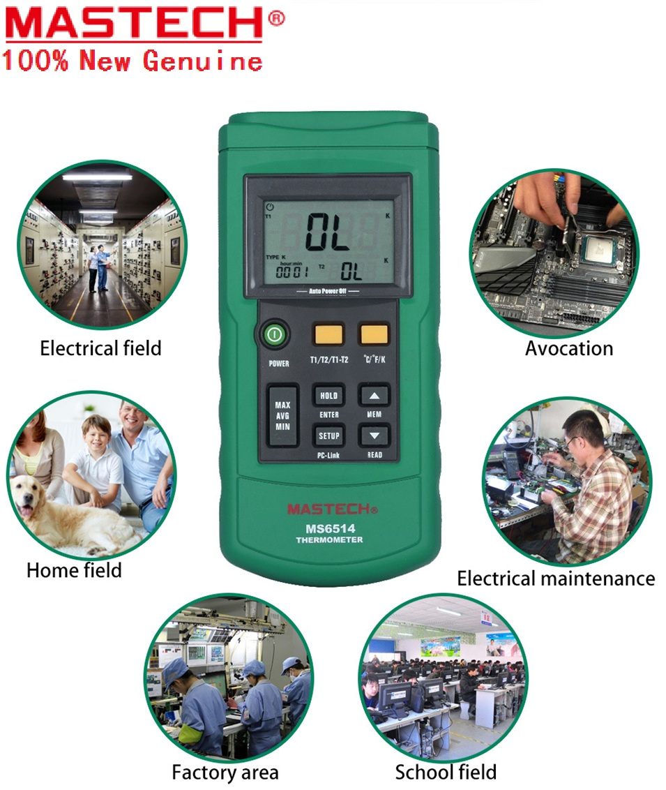 Dual Channel Digital Thermometer Temperature Logger Tester USB Interface 1000 Sets Data KJTERSN Thermocouple MASTECH MS6514 ht 9815 digital k type thermocouple thermometer thermocouple probe sensor industrial temperature tester 200c 1372c dual channel