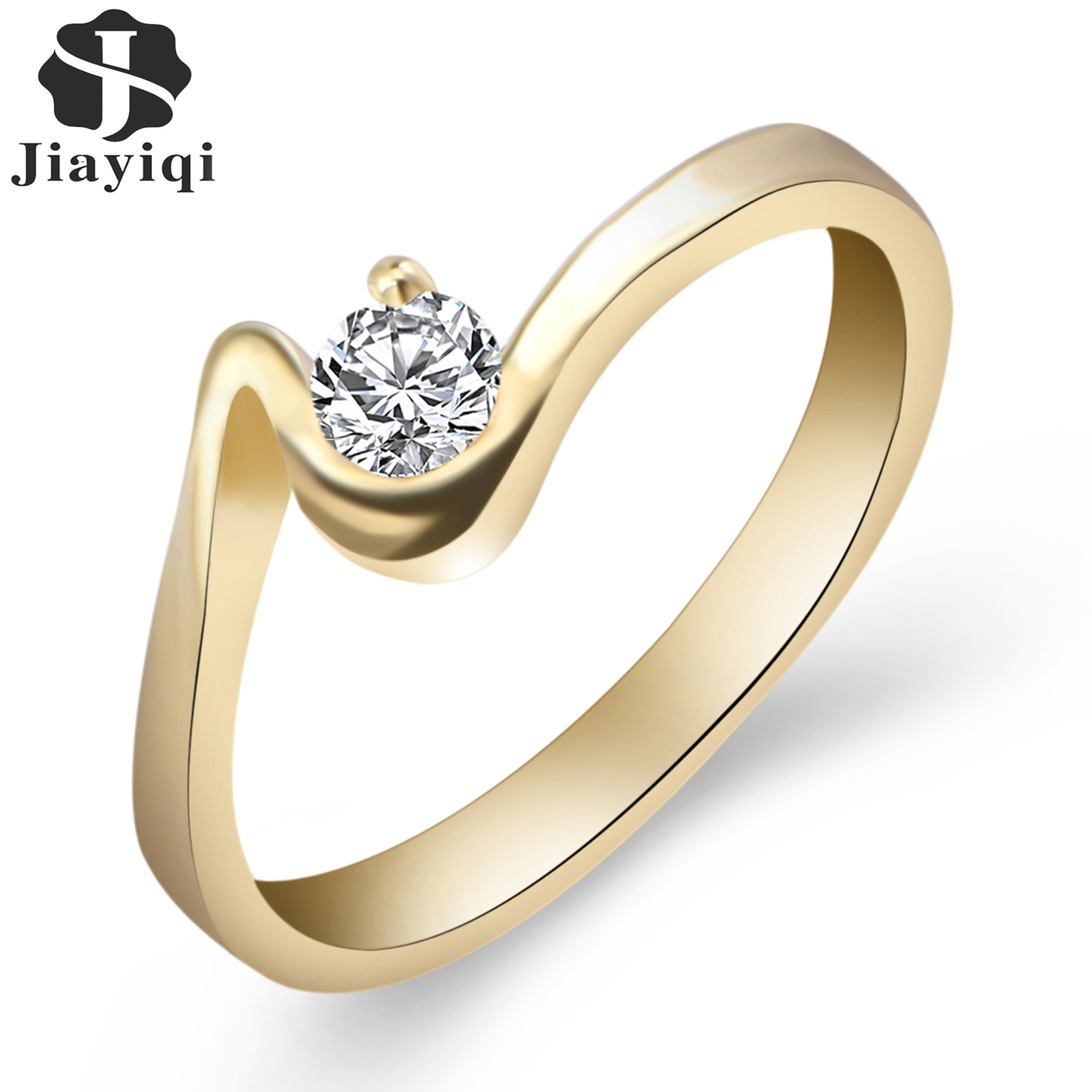 2017 New Vintage Rings Sliver Rose Gold Color Round Crystal Cubic Zirconia Engagement Ring For Women Hot Selling Jewelry Gift