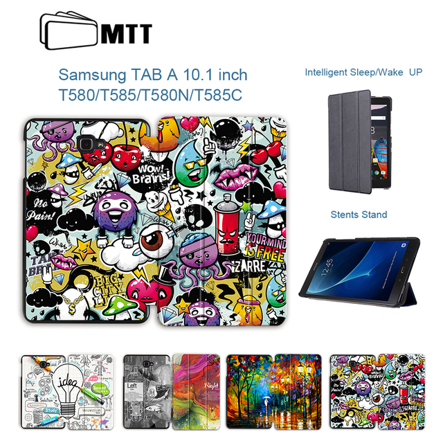 MTT Cartoon Graffiti Case For Samsung Galaxy Tab A A6 10.1 inch T580 T585 T580N PU Leather Flip Cover Protective Tablet Shell