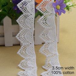 3.5cm White 100% Cotton Embroidery Lace French Lace Ribbon Fabric Guipure Diy Trims Warp Knitting Sewing Accessories#3806
