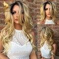 8А Китайский блондинка ломбер кружева перед парики с ребенком волос девы темно-корень полный парик шнурка для чернокожих женщин два тона человеческих волос парики