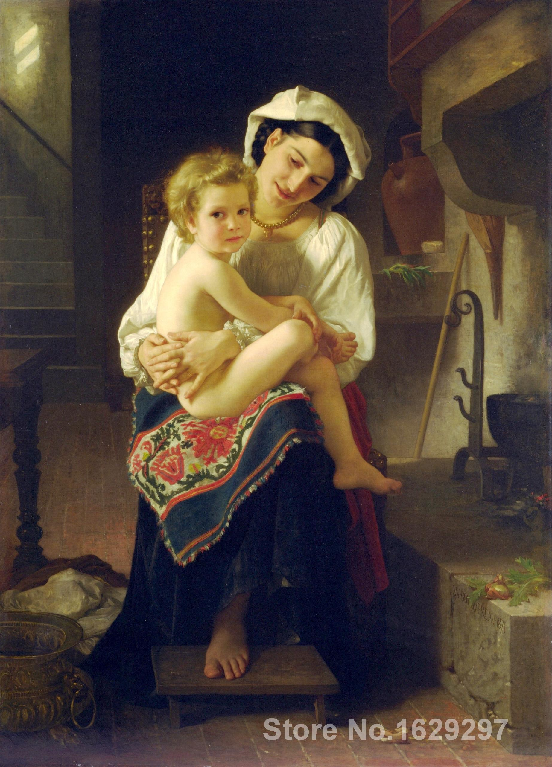 wall art Young Mother Gazing At Her Child William Adolphe Bouguereau Paintings Hand painted High quality