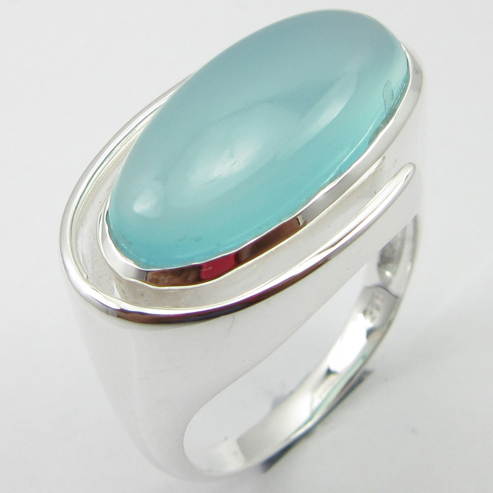 Chalcedony Ring Size 7.5 Solid Silver Nouveau Handmade Jewellery Unique Designed