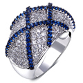 Rings pave with blue cz and clear cubic zirconia ring 2017 new finger rings jewelry white gold AAA Cubic Zirconia rings