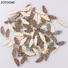 ZOTOONE 100PCS Random Pretty Feather Handmade Wooden Button Sewing Buttons Two Holes Cabochon Scrapbooking DIY Accessoires E