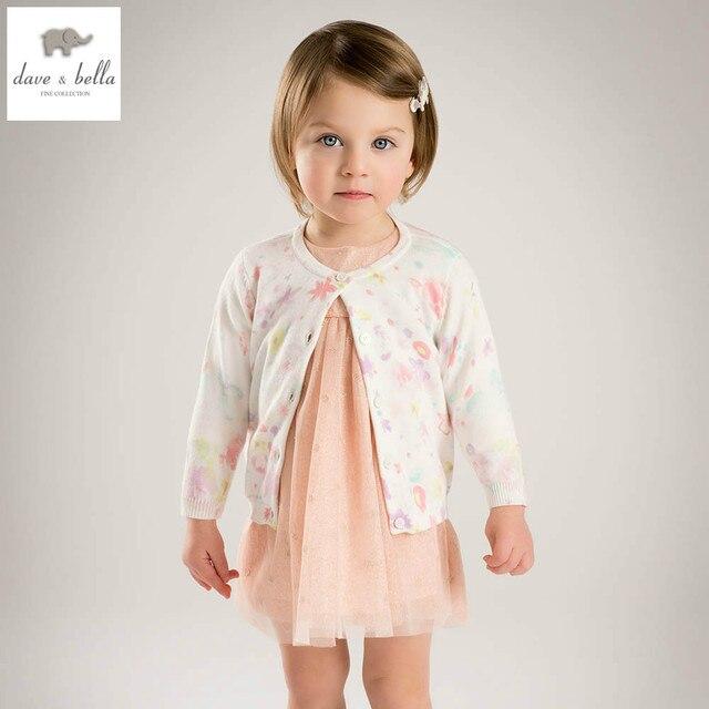 DB4837 дэйв белла весна новый дизайн новорожденных девочек кардиганы цветочные лолита свитер последние стильный дизайн одежды девушки кардиган