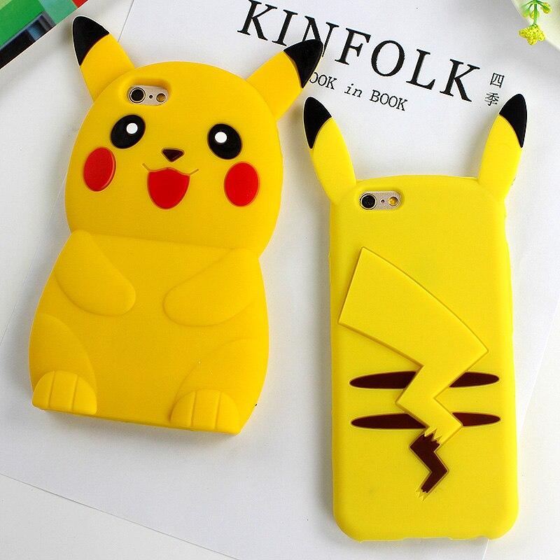 Anime 3D Cartoon Cute Pocket Monsters Pokemon Pikachu Case For iPhone 6 6s 6 Plus 5 5s SE Case Back Cover Fundas Coque
