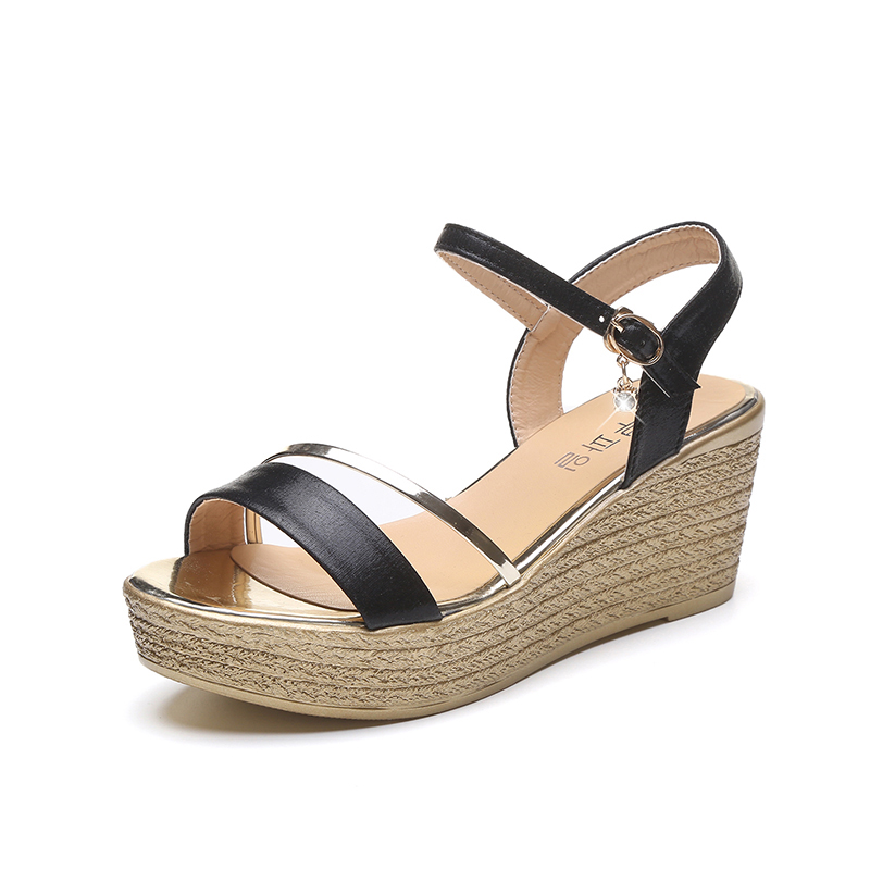 DQG 2018 Summer Casual Buckle Ankle Strap Women Shoes High Heels Wedges Sandals Fashion Ladies Sandalias women sandals fashion straw shoes woman summer wedges sandals ankle strap casual ladies flat sandals