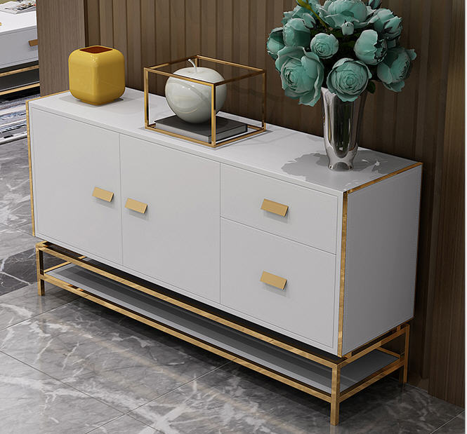 Stainless Steel Eat Edge Ark Dining Room Home Furniture Side Cabinet Minimalist Modern Rectangle Mesas De Centro Table Basse