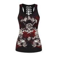 Women Fitness Bodybuilding Sleeveless Tank Top 3D Flower Skull Printed Women Vest Tops Female Punk Gothic