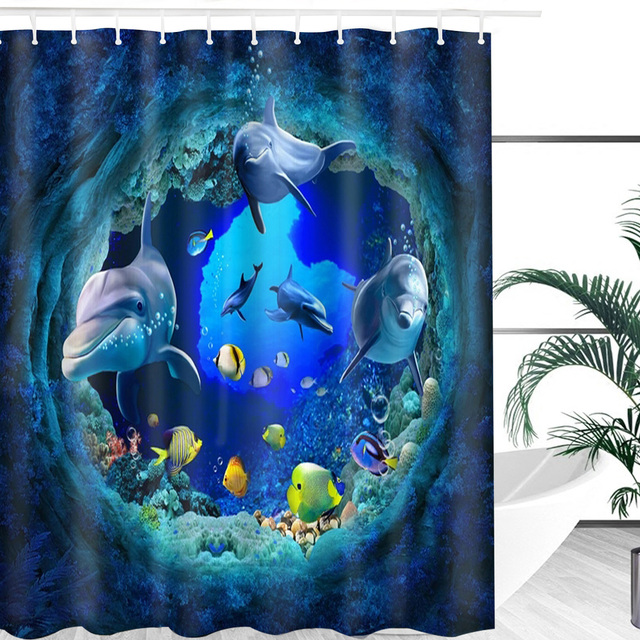 Ocean Dolphin Deep Sea Polyester Shower Curtain 2