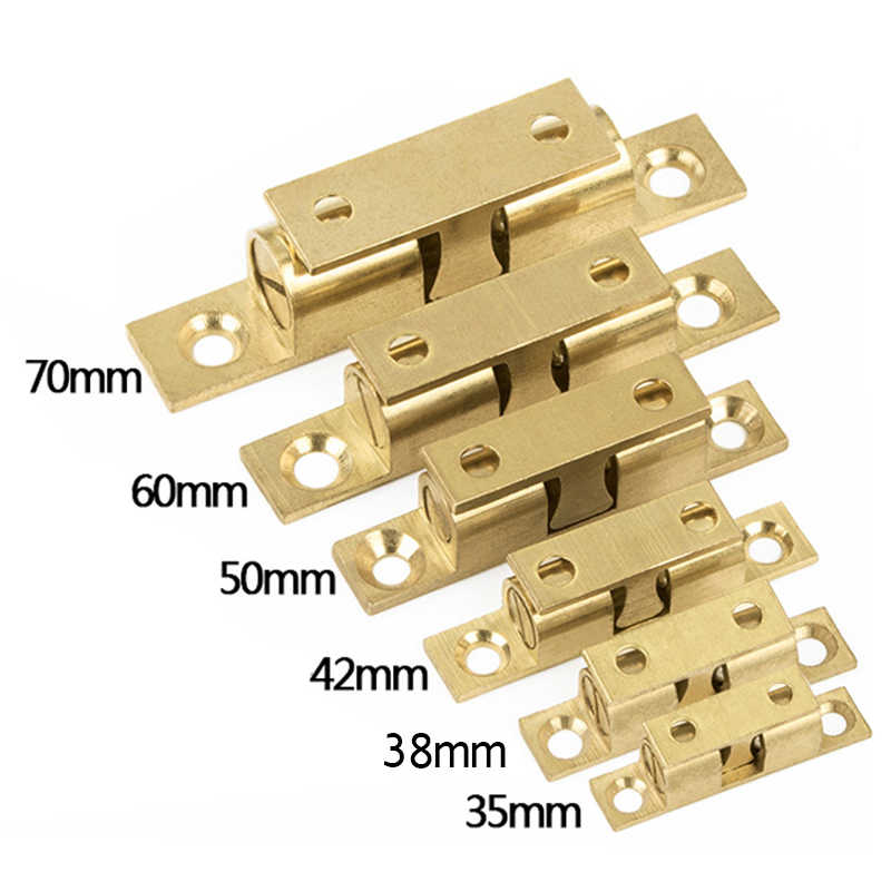 1pcs 42/50/60/70mm All Copper Touch Beads Lock Door Spring Clip Cabinet Door Catches Brass Double Ball Catch Cabinet Door Latch
