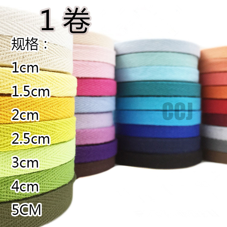 Hot Sale!!! 100yards/lot 10mm COLOR Herringbone/ Twill Cotton Tape/Cotton Webbing/Bias Binding Tape