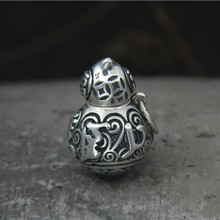 990 Sterling Silver Gourd Carving Pendant Feng Shui Ba Gua Six Words Solid For Buddha Jewelry 16.60G