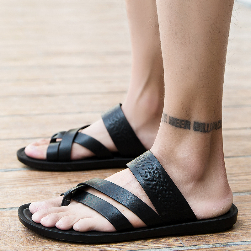 2019 Summer New Beach Men Sandals Light Pu Leather Slippers Male Black Flats Sandals Outdoor Comfortable Soft Rubber Flip Flops(China)