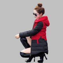 2016 Зима Новый Женщин воспитать в себе мораль Среднего длинные Большие ярдов С Капюшоном Утолщаются Хлопка-проложенный одежды согреться пальто G1283