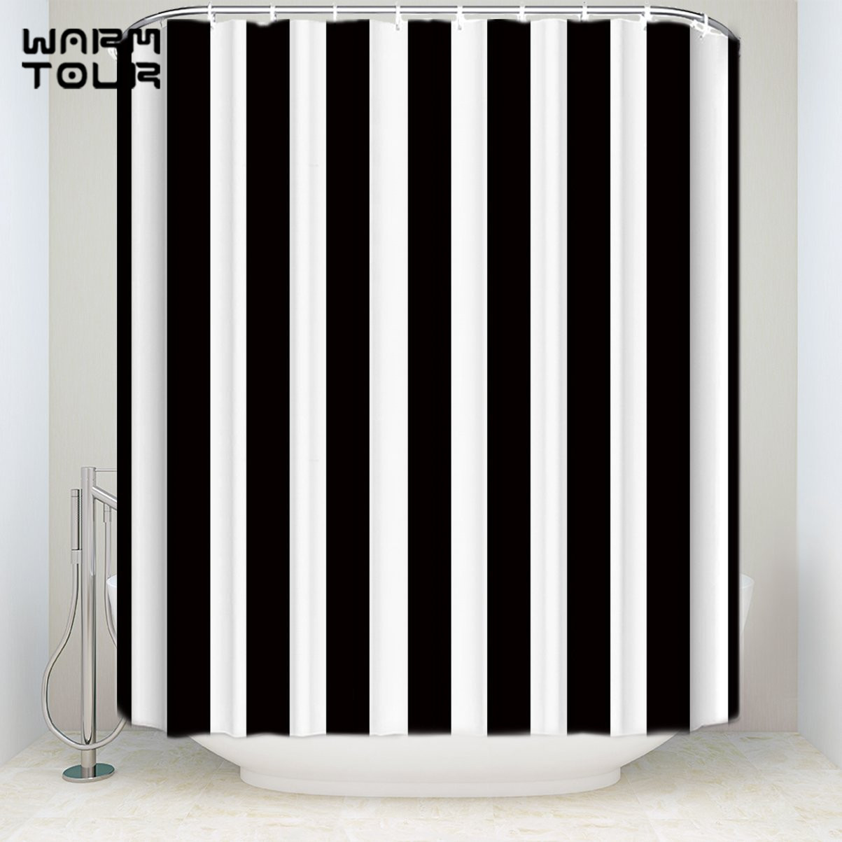Us 16 23 30 Off Bath Shower Curtains Black And White Vertical Stripes Mildew Resistant Bathroom Decor Sets With Hooks 54