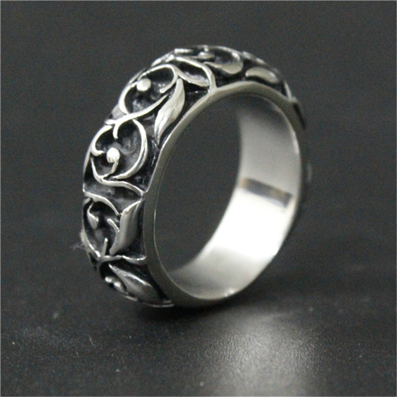 1pc New Arrival Unisex Band Flower Ring 316L Stainless Steel Fashion Jewelry Unisex Ring