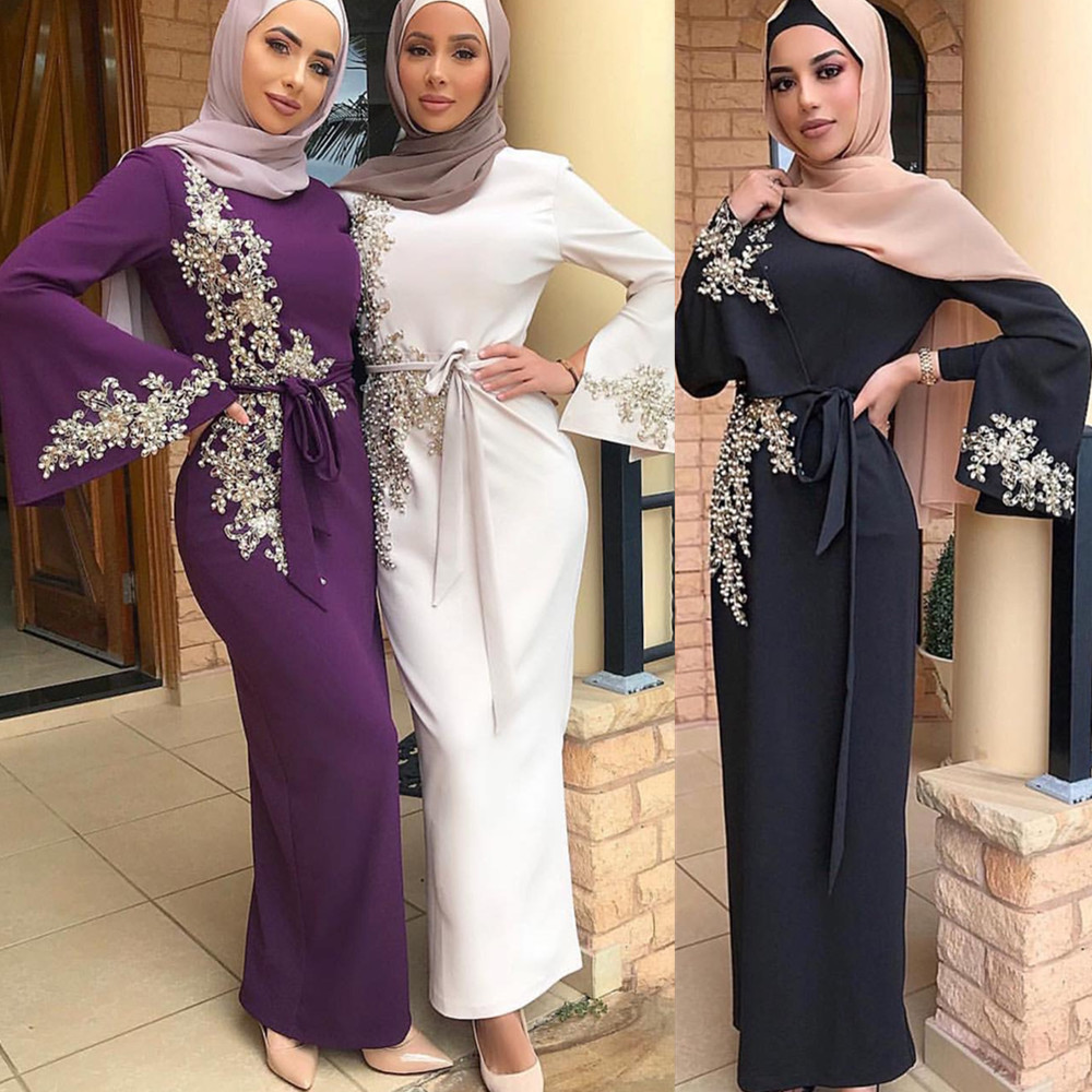 Embroidery Abaya Kimono Cardigan Long-Robe Islamic Full-Dress Muslim Gowns-Jubah Elegant