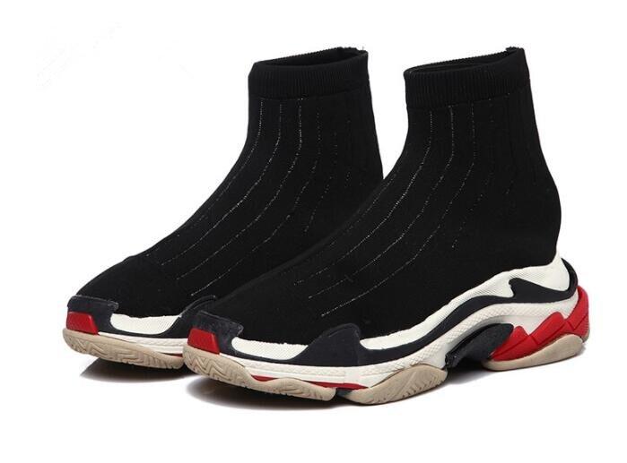 Tricoter Slip on Chaussures Casual Stretch De Pic Haute Chaussette À Tissu Qualité as Chaude Fond Élastique Femmes Épais As Mode Pic Rétro USzVqMp