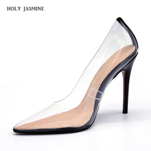Summer Clear PVC transparent pumps slip on perspex heel stilettos high heels point toe womens party shoes nightclub pumps 35-42 недорого