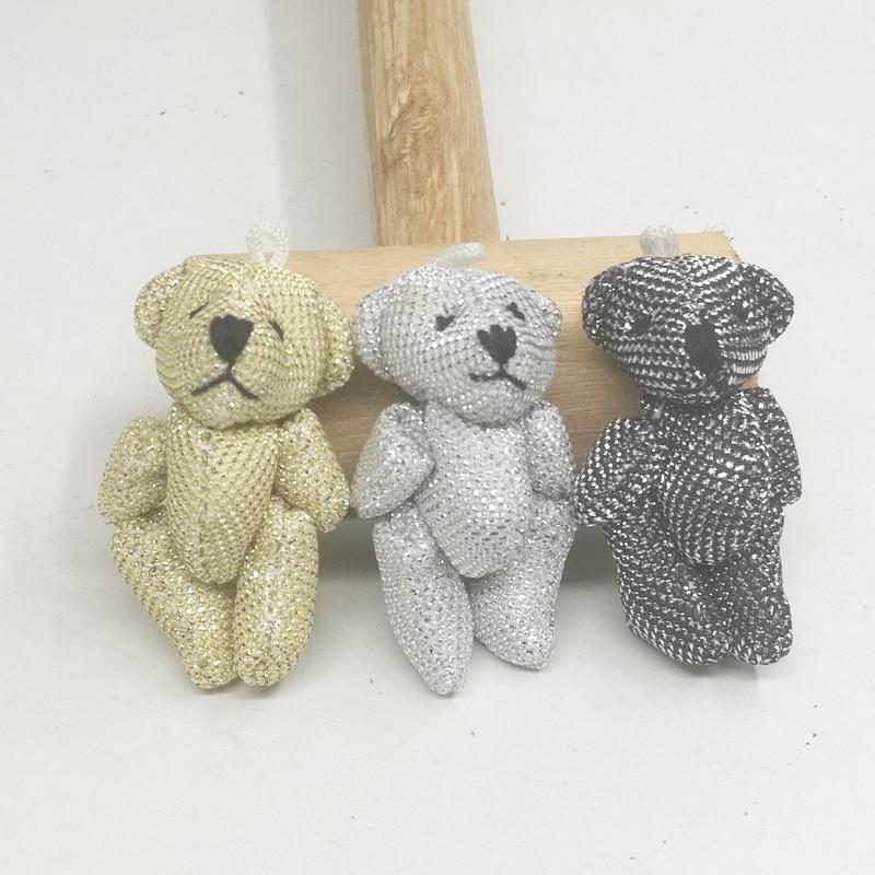 60pcs Sequin Little Mini Cute 4.5CM Joint Bear Stuffed Plush Bear Plush TOYS Garments Hair Decor Plush DOLL Accessories TOY | Dolls & Stuffed Toys