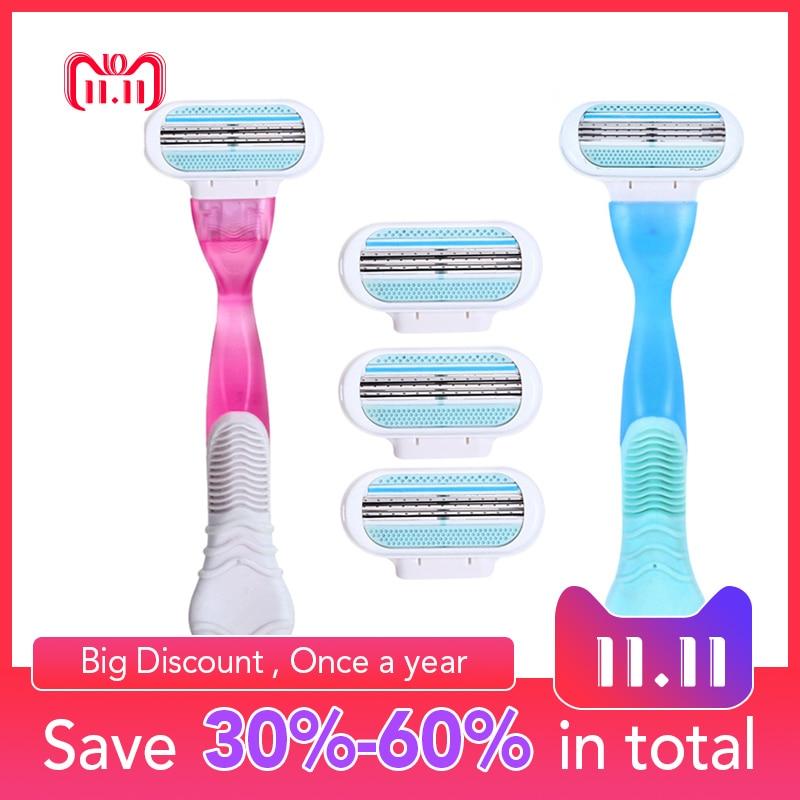 1 Razor ידית 4 סכיני גילוח ידני גילוח נשים סכיני גילוח להב גילוח שיער בטיחות ליידי גילוח ראש