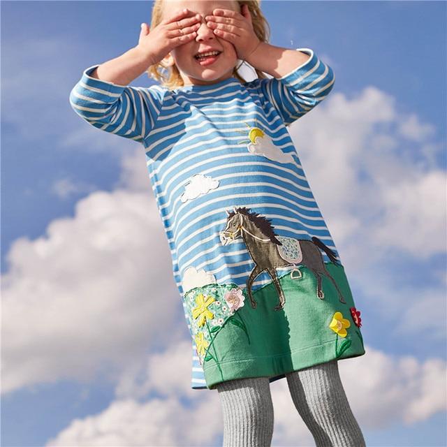 Одежда для маленьких девочек платье с длинными рукавами для девочек с животными Аппликации 100% хлопок Повседневное Туника Платье Эльзы детская одежда, одежда