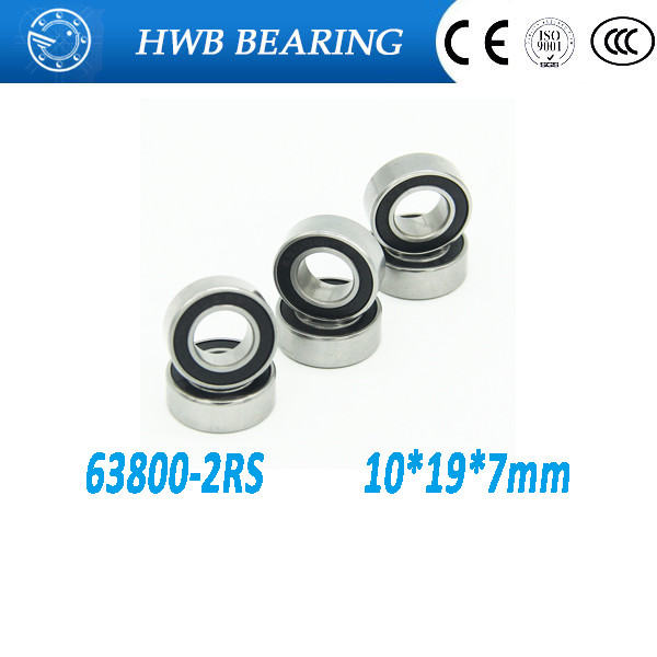 Free Shipping 10 pcs <font><b>6800</b></font>-2RS 63800RS 6800W7RS 10x19x7 mm deep groove ball bearing image