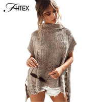 FHTEX Women Autumn Pullover Sweater Solid Color Sexy See Through Batwing Sleeve Irregular Medium Long Casual