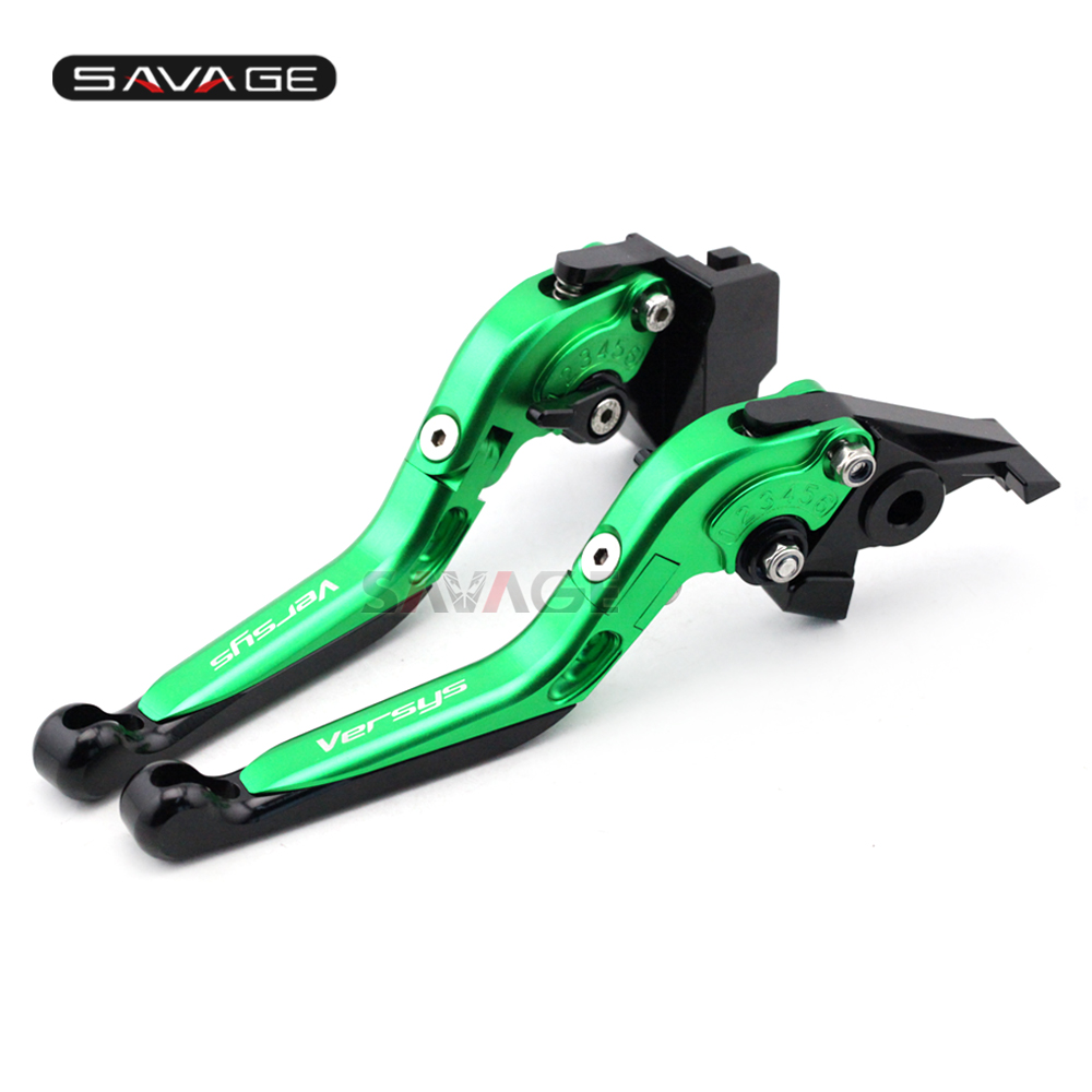 Brake Clutch Lever For KAWASAKI KLE 650 Versys 2009-2014 10 11 12 13 Green Motorcycle Adjustable Folding Extendable Logo