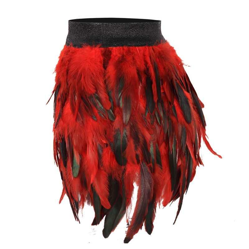 Red Feathers Epaulettes Body Harness Bondage Adjust Shoulder Cage Bra Angel Wings Gothic Steampunk Lingerie BurningMan Dress