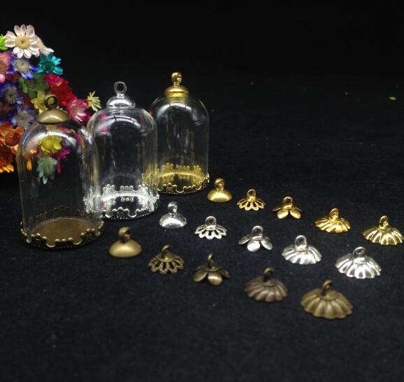 50pcs 30 20mm tube glass globe flower base beads cap set glass vial pendant glass cover