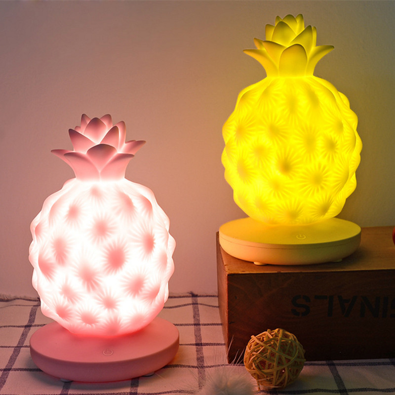 Touch Dimmable Led Night Light Lamp Silicon Pineapple for Baby Children Kids Gift Bedside Bedroom Living Room Decoration