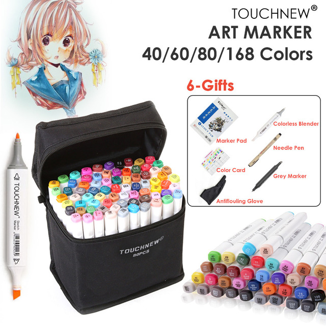 Touchnew 40 60 80 168 Color Marker Pen Set Sketch Paint