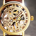 2017 New Hot Sale Skeleton Fashion Mechanical Men Watch Winner Luxury Branded Business Leather Strap Wristwatch CLASSIC GOLD