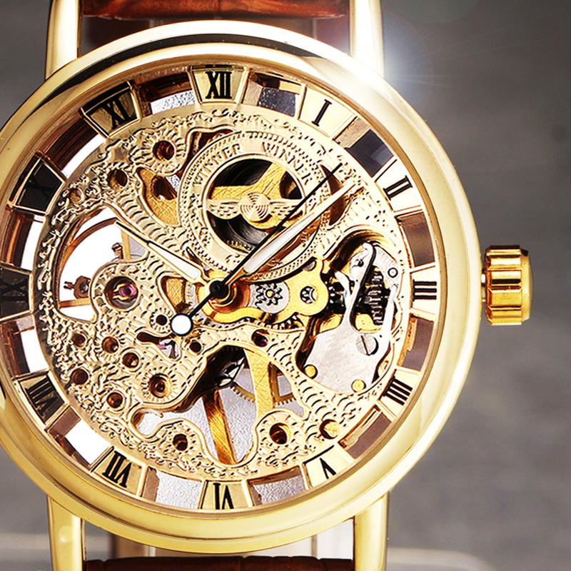 Prix pour 2017 New Hot Vente Mode Squelettique Mécanique Hommes Montre Gagnant De Luxe De Marque Bracelet En Cuir D'affaires Montre-Bracelet CLASSIQUE OR