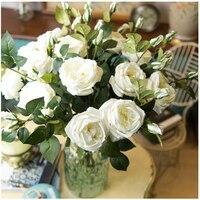 บิ๊กโฟมสีขาวโรสสัมผัสจริงเพิ่มขึ้นบ้านดอกไม้ประดิษฐ์ดอกไม้งานแต่งงานดอกไม้ดอกรักดอกโบ...