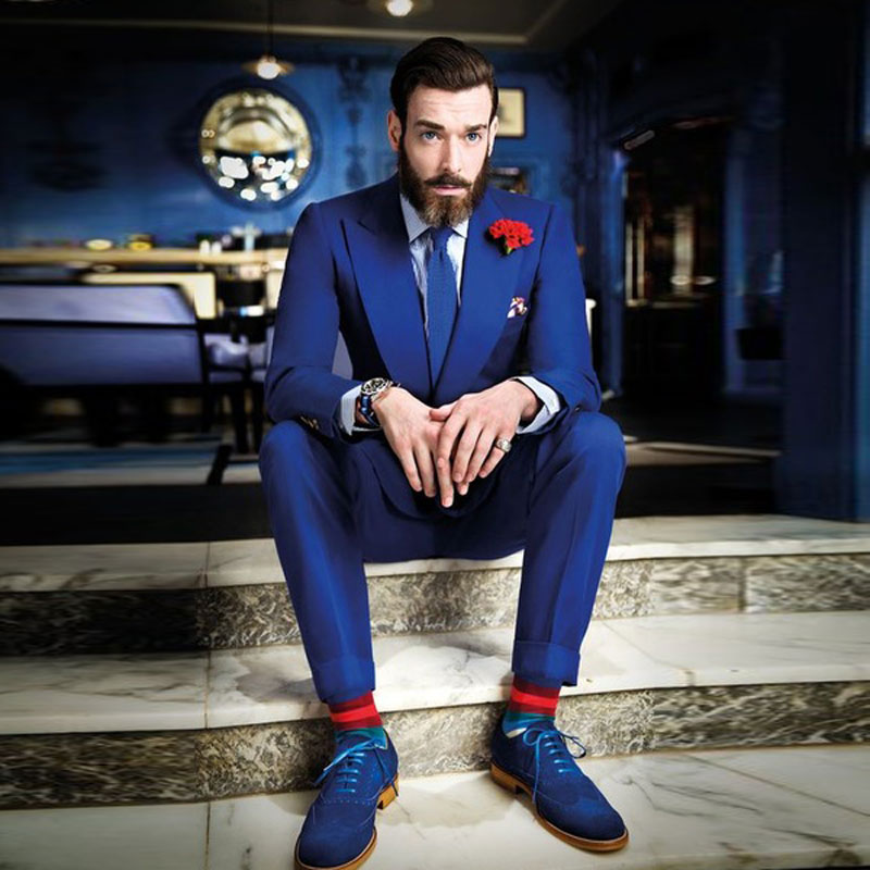 Wide Peaked Lapel Royal Blue Men Suits 2 Pieces Custome Homme New Fashion Man Blazers Slim Fit Terno Masculino (Jacket+Pants)