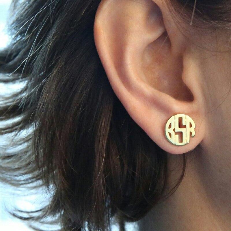 Boucles d'oreilles monogramme personnalisé pour femmes Boucle D'oreille personnalisé en acier inoxydable initiales lettres boucles d'oreilles bijoux de mode
