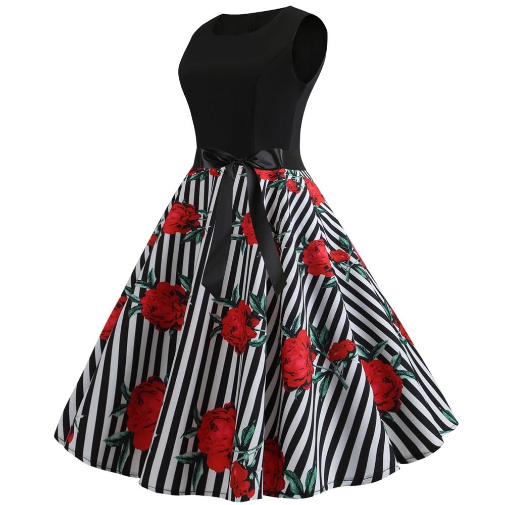 HTB1YhldbzDuK1Rjy1zjq6zraFXa0 Women Summer Dresses 2019 Robe Vintage 1950s 60s Pin Up Big Swing Party Work Wear Rockabilly Dress Black Polka Dot Vestidos