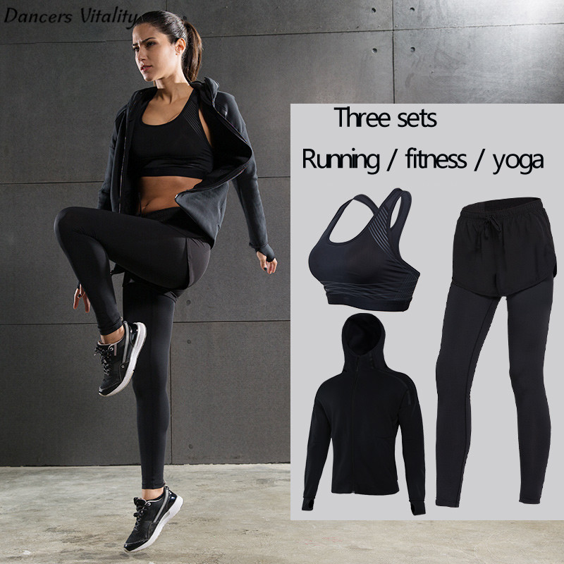 2017 Ladies Yoga Fitness Set Windproof Running Tops Fake Two-piece Sports Leggings Yogging Yoga Quick Dry Pants Long Sleeve Spor 2017 women s yoga pants workout capri leggings running tights side pockets functional pattern patchwork sports leggings jnc2315
