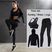 2017 Ladies Yoga Fitness Set Windproof Running Tops Fake Two-piece Sports Leggings Yogging Yoga Quick Dry Pants Long Sleeve Spor