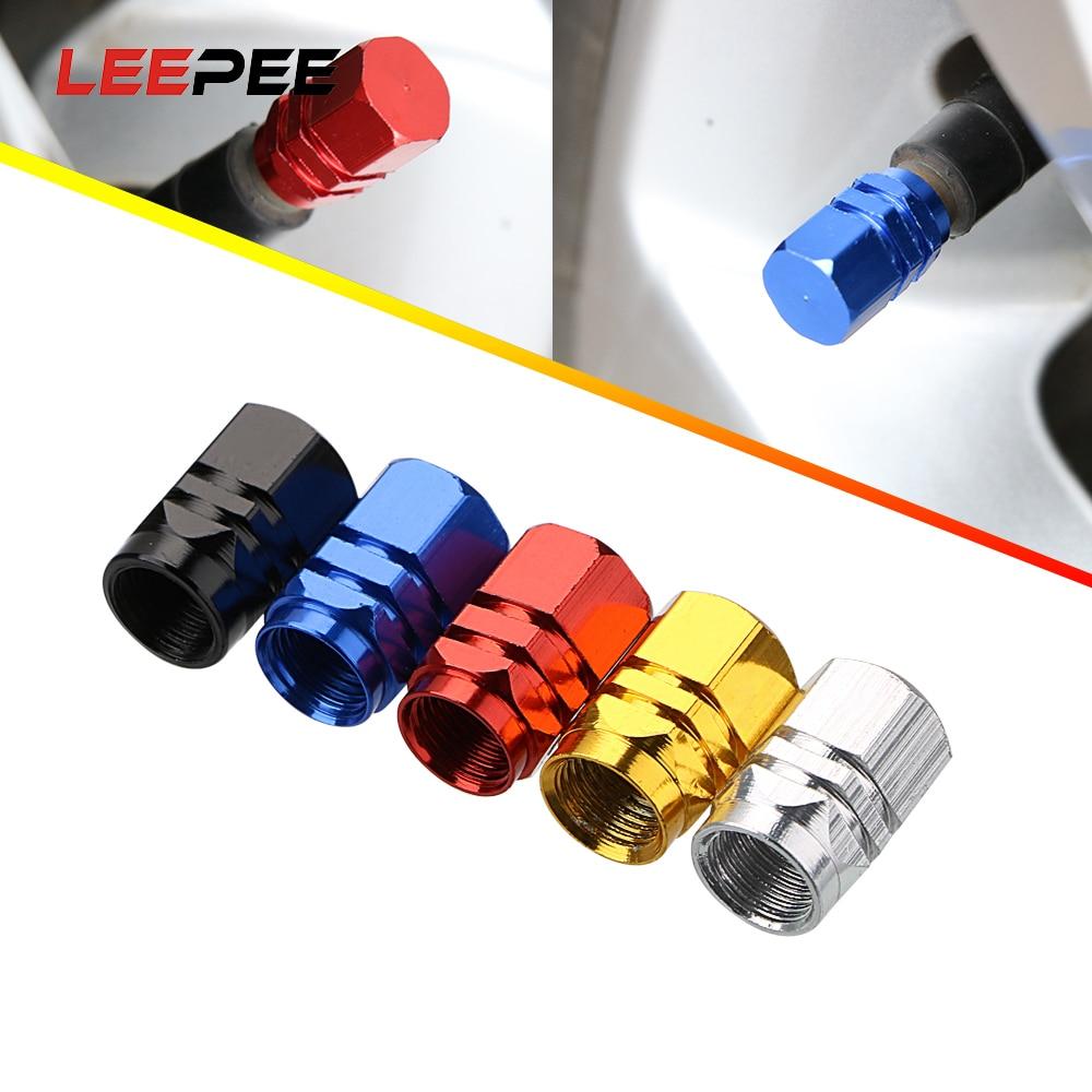 LEEPEE 4 Piece/se Auto Bicycle Car Tire Valve Caps Tyre Wheel Hexagonal Ventile Air Valve Stems Cover Dustproof Tire Accessories