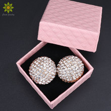 Full Crystal Stud Earrings For Women Gold Color Bride Earrings Wedding Jewelry Accessories With Gift Boxes