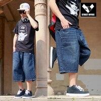 Baggy Jeans Shorts Men Hip Hop 2015 New Fashion Plus Size Skateboard Calf Length Shorts Free