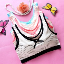 (1pcs/lot)2016 New Fashion Young Developmental Girls Cotton Training Bra High Quality Wire Free Vest Children Summer Soprts Bra