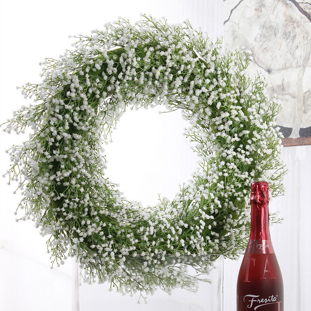 Large White Babysbreath Simulation Flower Wreath Artificial Plastic