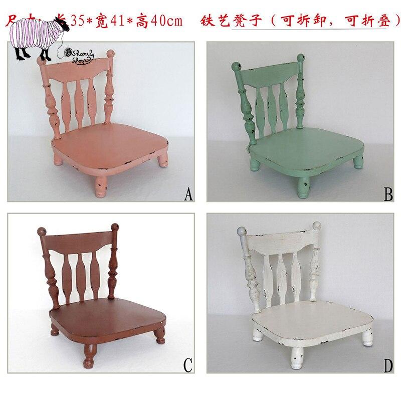 Baby Photoshoot Studio Posing Iron Chair Newborn Photography Props Detachable Stool fotografia Accessories Shooting Props Basket
