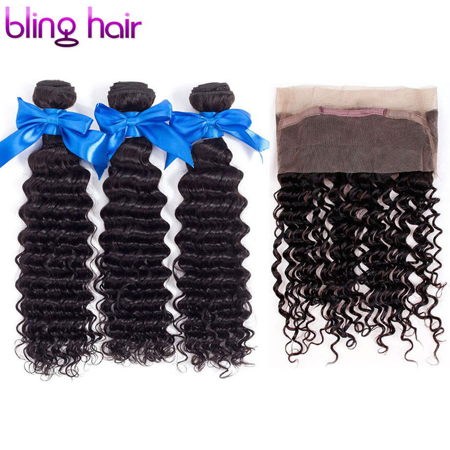 Bling Hair Deep Wave Bundles With Closure 360 Lace Frontal With Baby Hair Brazilian Hair Weave